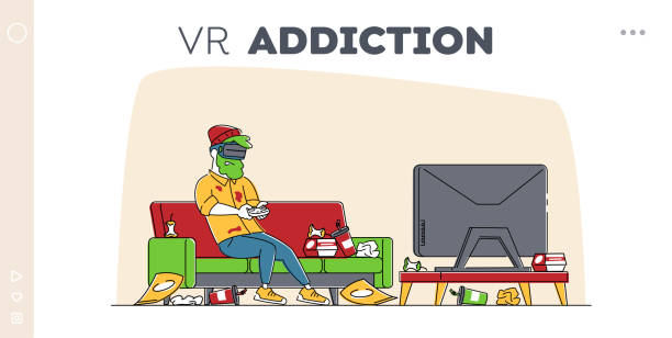 ilustrações de stock, clip art, desenhos animados e ícones de gaming addiction, virtual reality simulation hobby landing page template. man gamer character playing video game in vr goggles with messy garbage around, entertainment. linear vector illustration - man joystick