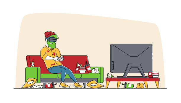ilustrações de stock, clip art, desenhos animados e ícones de gaming addiction, virtual reality simulation hobby. man gamer character playing video game in vr goggles with messy garbage around. future technology entertainment industry. linear vector illustration - man joystick
