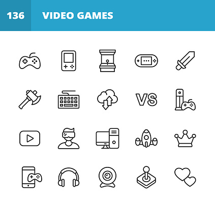 Gaming and Video Games Line Icons. Editable Stroke. Pixel Perfect. For Mobile and Web. Contains such icons as Video Game, Mobile Game, Device, Gaming Console, RPG, Virtual Reality, Shooter, Keyboard, Mouse, Computer, Tablet, Multiplayer, Streaming.