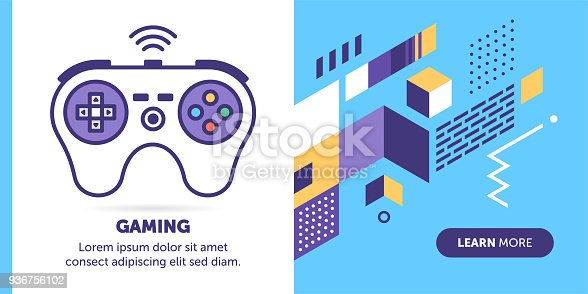 Game controller vector banner illustration also contains icon for the topic.