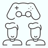 Gaming battle thin line icon. Two gamers with controller vector illustration isolated on white. Two friends and joystick outline style design, designed for web and app. Eps 10