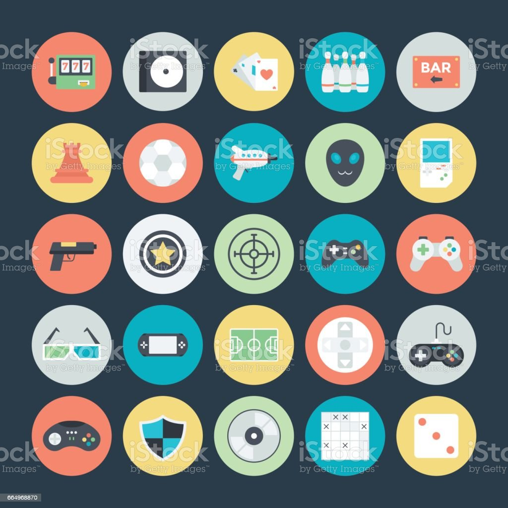 Gaming Colored Vector Icons 2 vector art illustration