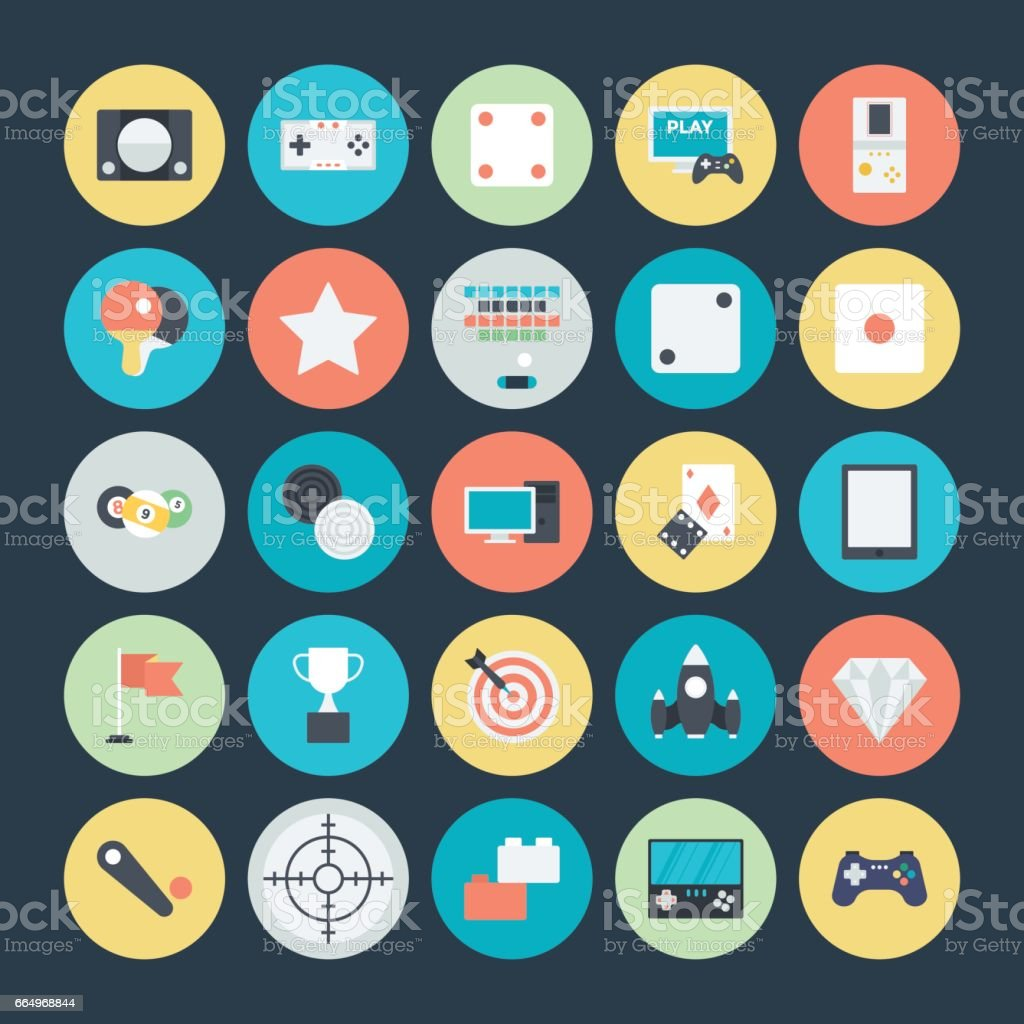 Gaming Colored Vector Icons 4 vector art illustration