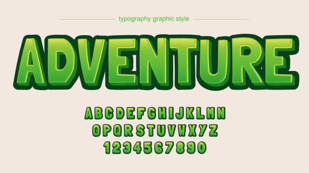 ilustraciones, imágenes clip art, dibujos animados e iconos de stock de pantalla de juegos verde 3d dibujos animados dibujos tipografía - tipos de letra de burbujas