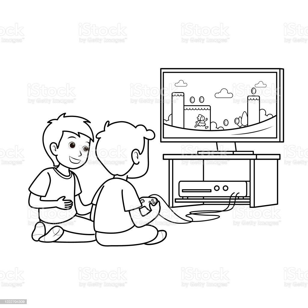 Gaming Unterhaltung Freizeit Flache Vektorillustration Zwei Jungen Kinder  Sitzen Auf Dem Tvbildschirm Spielen Eine Konsole Videospiel Zusammen Mit
