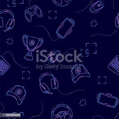Gaming gadgets seamless pattern in deep blue, outline. Esports, pc and console games, virtual reality themes on deep blue background.