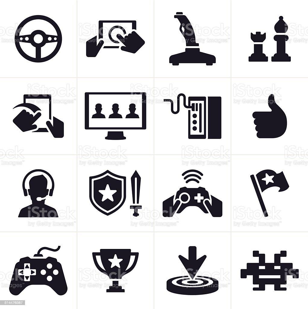 Gaming Icons and Symbols vector art illustration