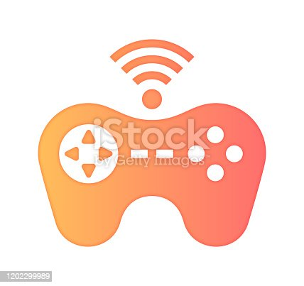 Gaming industry design with gradient fill painted by path of the icon. Papercut style graphic can also be used as simple vector template for silhouette illustrations.