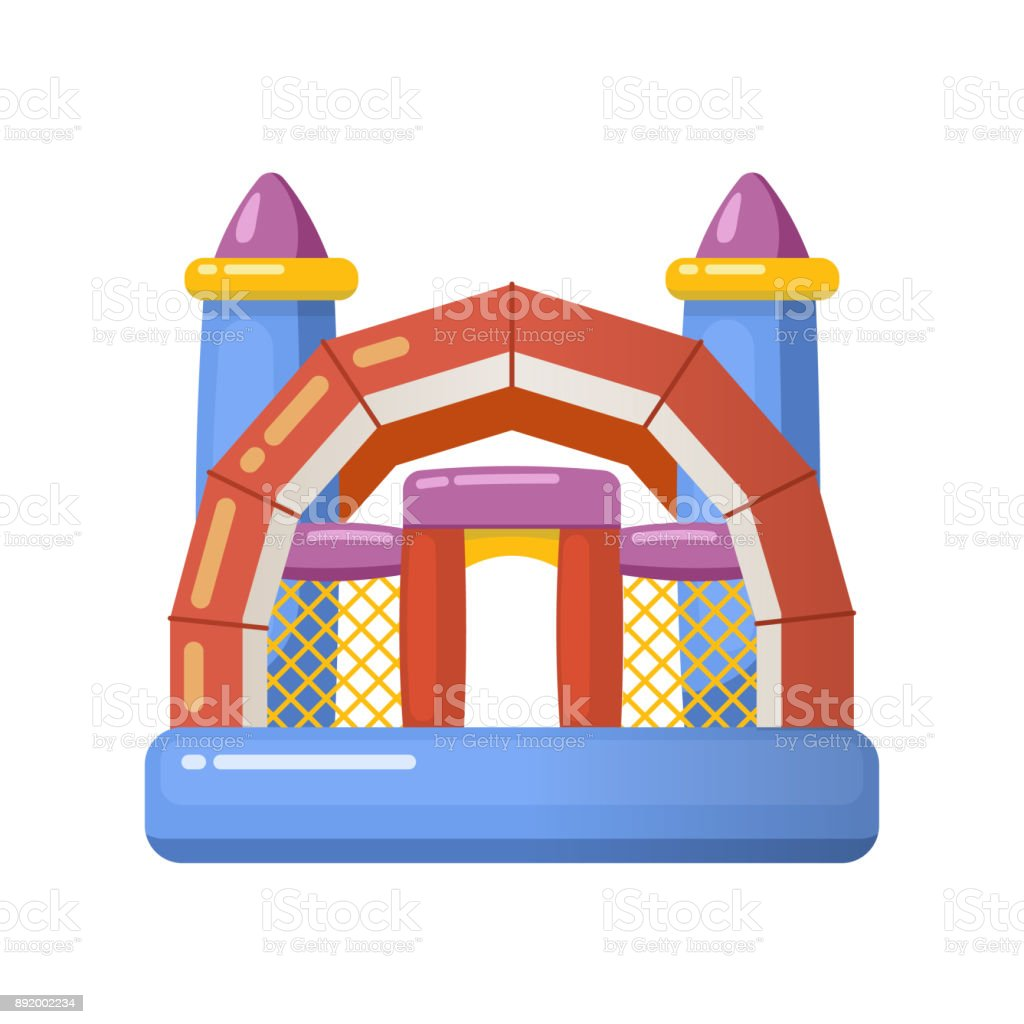 Gaming inflatable complex for kids having fun on inflatable playground vector art illustration
