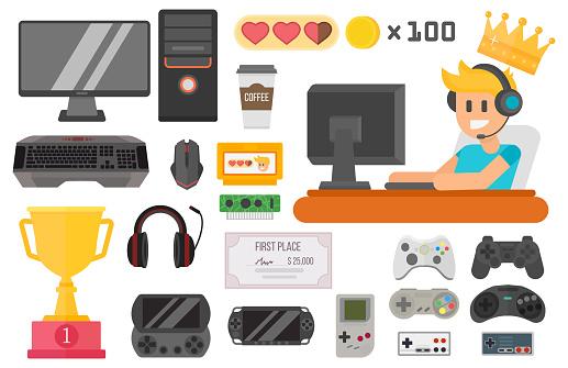 Gaming kiber sport vector set