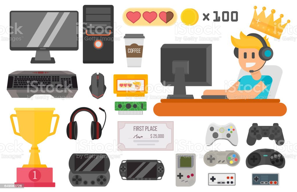 Gaming kiber sport vector set vector art illustration