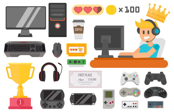 Gaming kiber sport vector set Flat design kiber sport gaming vector illustration concept tool and essential. Various devices player virtual computer gamer item element. Man with headphones. game controller stock illustrations