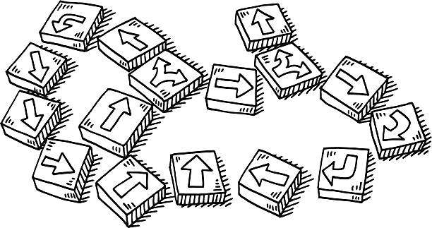 Gaming Pieces Arrows Drawing Hand-drawn vector drawing of some Gaming Pieces with Arrows on them. Black-and-White sketch on a transparent background (.eps-file). Included files are EPS (v10) and Hi-Res JPG. game stock illustrations