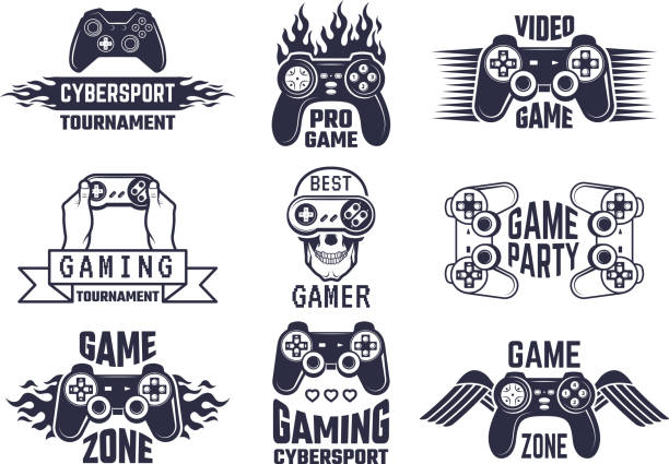 Gaming symbol set. Video games and cyber sport labels Gaming symbol set. Video games and cyber sport labels. Gamer emblem symbol, sport cyber, video gaming, vector illustration game controller stock illustrations