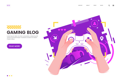 Gaming vector illustration. Hands holding gamepad on an abstract background with a video game interface. Flat style. Applicable for blog, news, cybersport matches.
