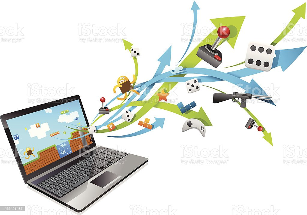 Gaming with Laptop royalty-free stock vector art