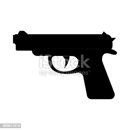 istock Gan. Firearms. A pistol weapon close-up. Gan isolated on white background. Vector. 889641616