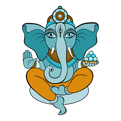 ganapati meditation in lotus pose stock illustration