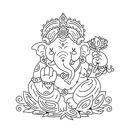 Ganesh indian god character. Vector cartoon