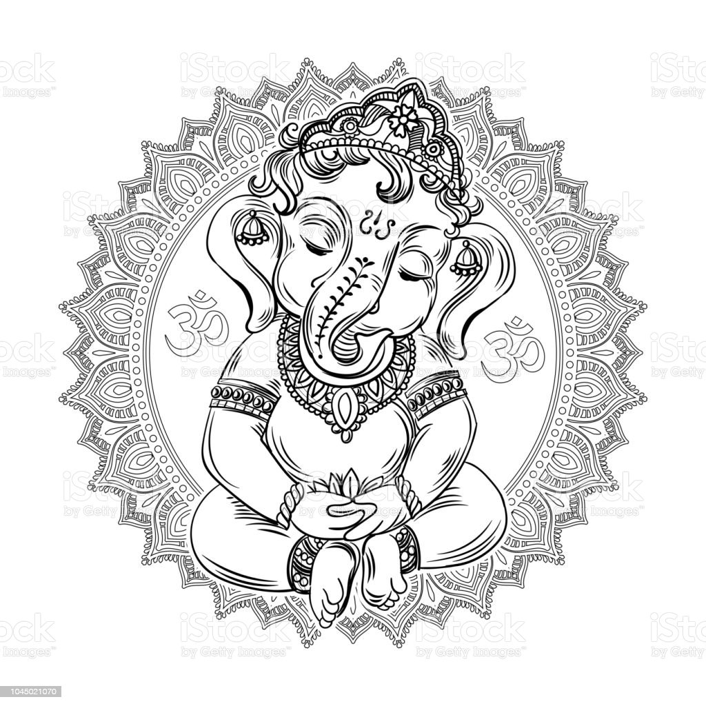 Ganesha Coloring Book For Adults Stock Illustration - Download Image