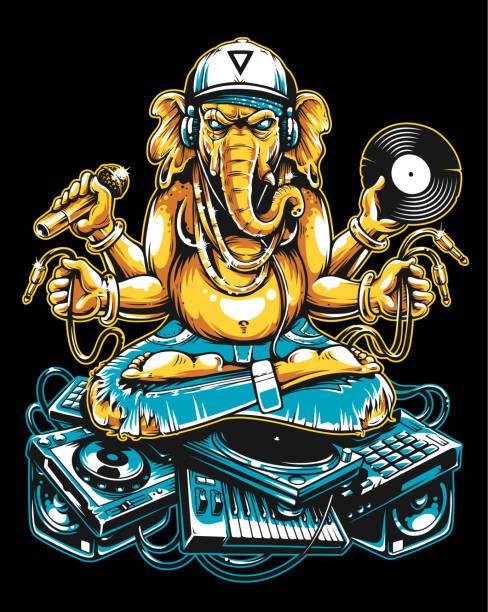 ganesha dj sitting on electronic musical stuff - jungle stock illustrations