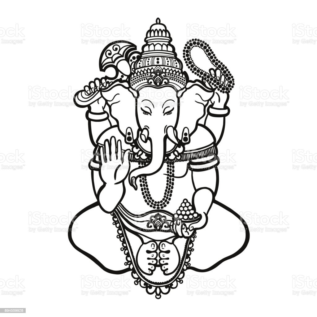 Ganesha. God of wisdom and prosperity in Hinduism. Linear style. Vector illustration.