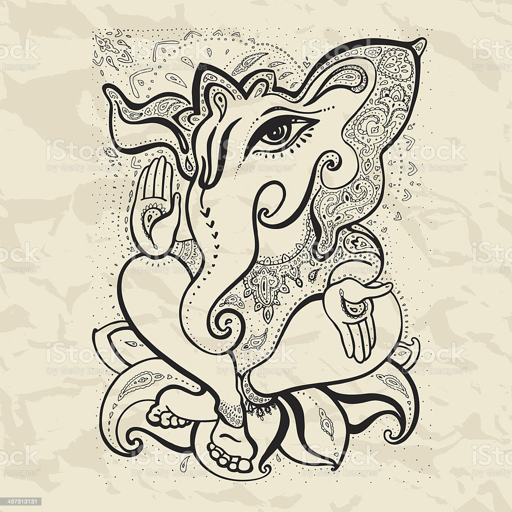 Ganesha Hand drawn illustration. royalty-free stock vector art