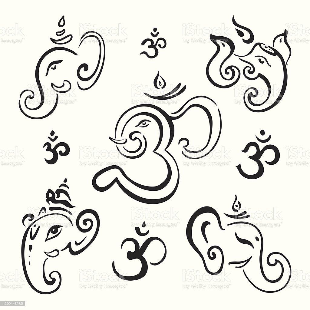 Ganesha Hand drawn illustration. vector art illustration