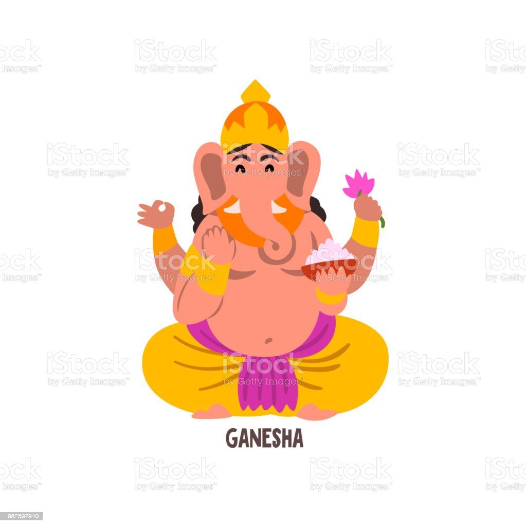 Vetores De Vetor De Personagem De Desenho Animado Ganesha Indiano