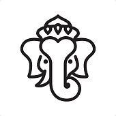 Ganesha - Professional outline black and white vector icon. Pixel Perfect Principle - icon designed in 64x64 pixel grid, outline stroke 2 px.  Complete Outline BW board - https://www.istockphoto.com/collaboration/boards/74OULCFeYkmRh_V_l8wKCg