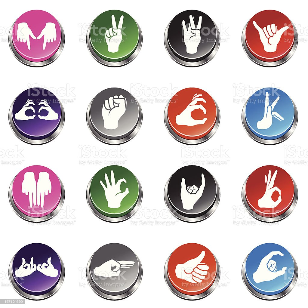 Gangs Hand Sign Icons - 3D Push Button Series royalty-free gangs hand sign icons 3d push button series stock vector art & more images of cartoon