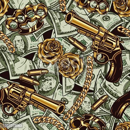 istock Gangster and money vintage seamless pattern 1327273563