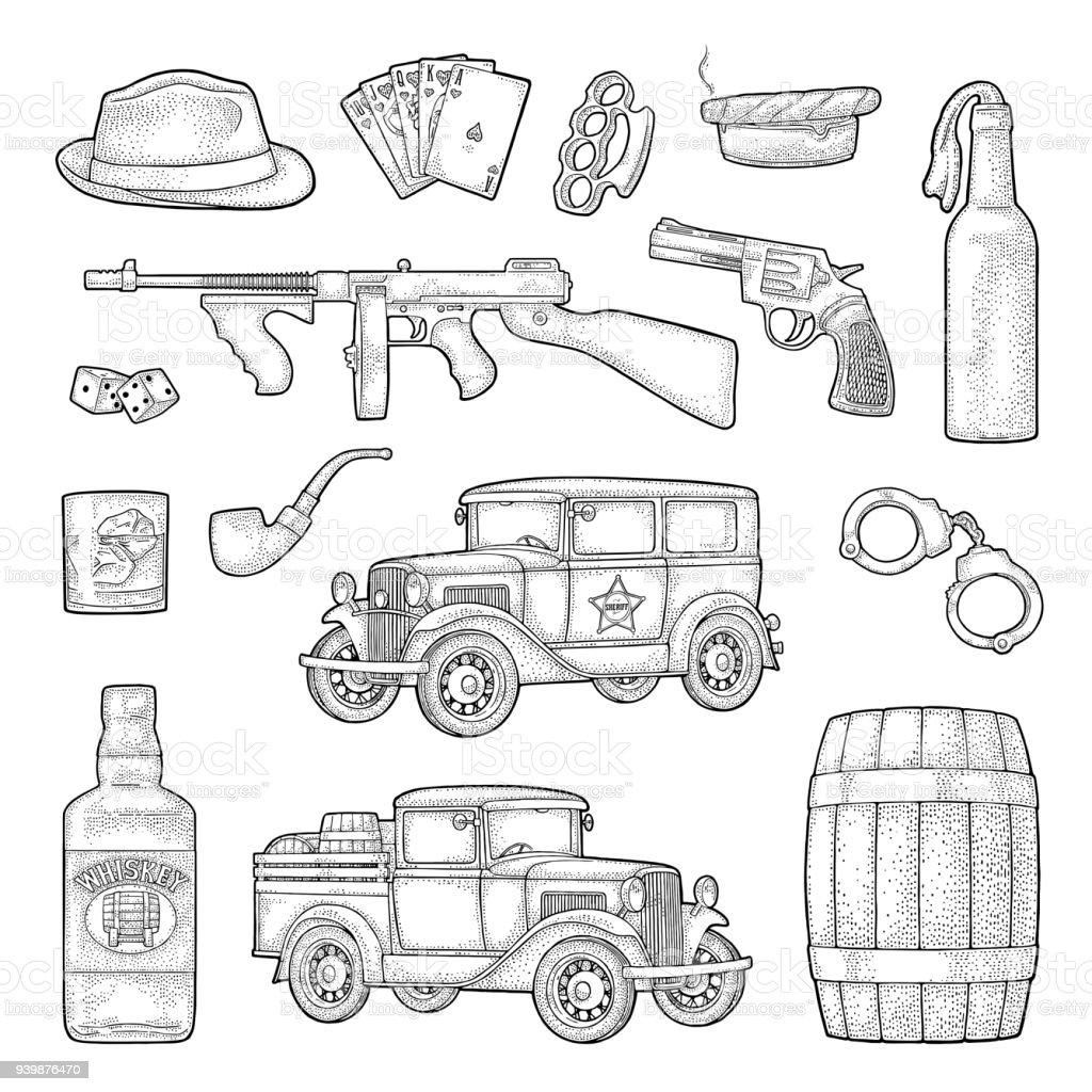 Conjunto de gangster da máfia. Gravura ilustração vetorial vintage preto. - ilustração de arte em vetor