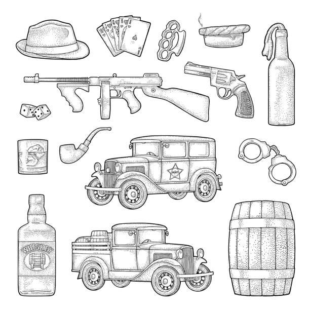 조 폭 마피아 설정합니다. 조각 빈티지 벡터 검은 그림입니다. - prohibition stock illustrations