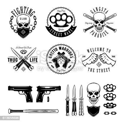 Gangster labels badges emblems design elements set. Gangsta style quotes. Thug life. Stay true. Street wars. Crossed weapon, skull in bandana. Vintage vector illustration.