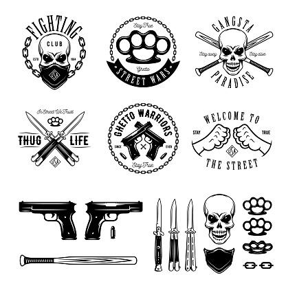 Gangster monochrome labels badges emblems and design elements set. Vintage