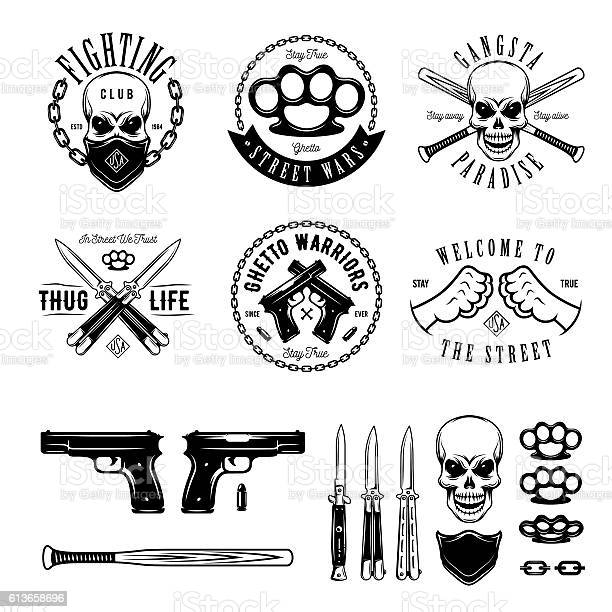 Gangster monochrome labels badges emblems and design elements set vector id613658696?b=1&k=6&m=613658696&s=612x612&h=ifocwbocqnwejisuq3jrkvsoxw5y5u2v ed5zpitais=