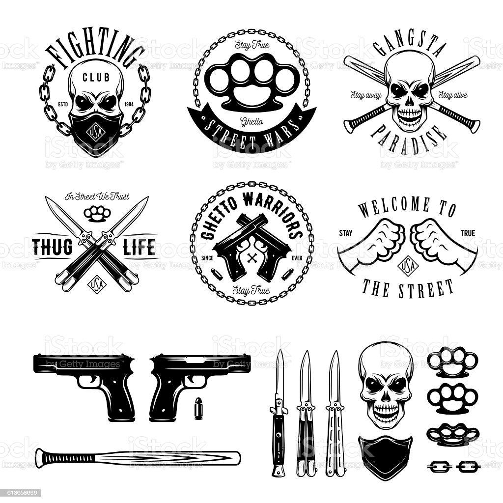 Gangster monochrome labels badges emblems and design elements set. Vintage vector art illustration