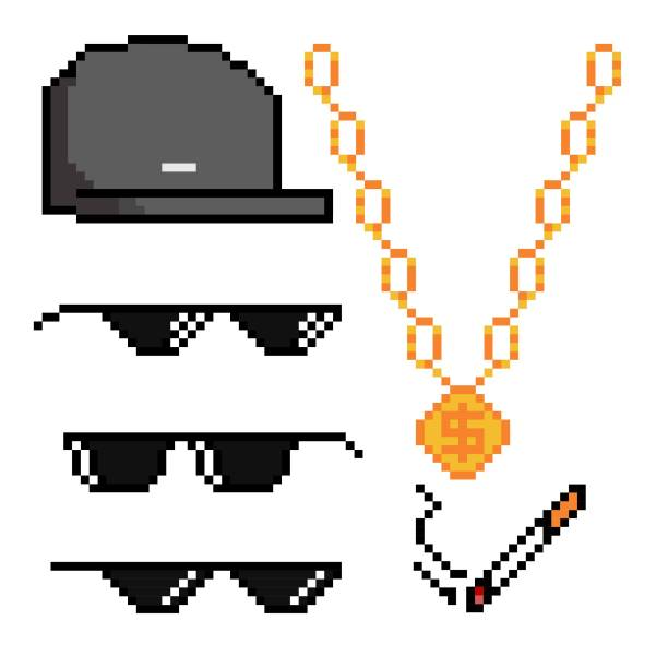 Gangster pixelated attributes. Boss or gangster pixelated sunglasses, gold chain, cap and cigarette. Thug attributes. Vector illustration. pixelated stock illustrations