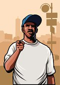 vector of gangster pointing hand wearing blank white tshirt