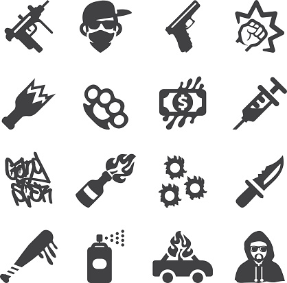 Gangster Silhouette icons | EPS10