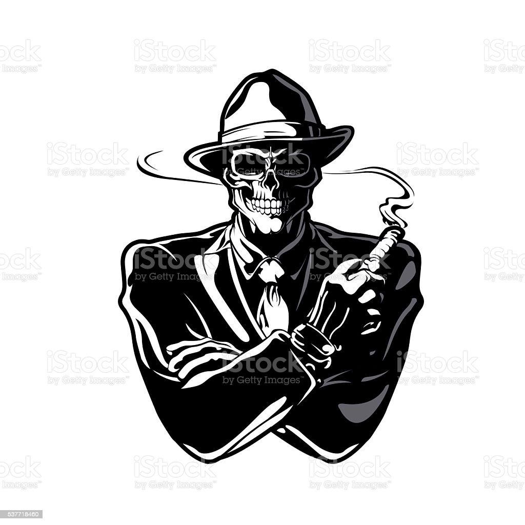 gangster skull vector art illustration