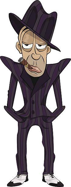gangster - old man smoking cigar stock illustrations, clip art, cartoons, & icons
