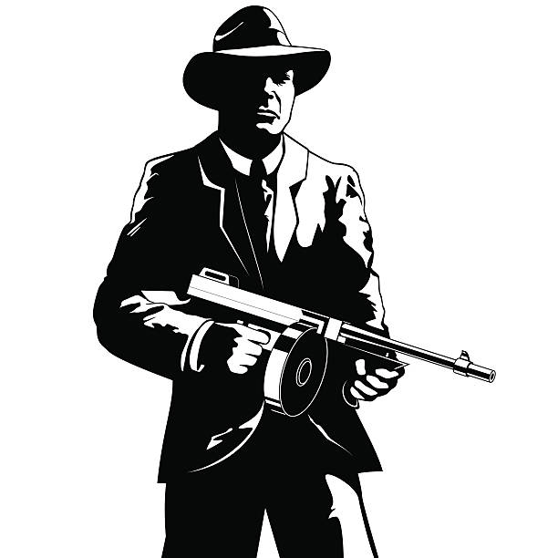 Gangster A gangster with a submachine gun gangster stock illustrations