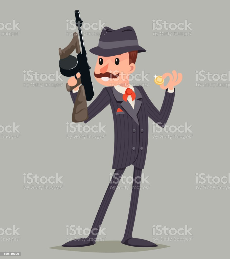 Gangster with Submachine Gun Thug Criminal Character Icon Retro Cartoon Design Vector Illustration vector art illustration