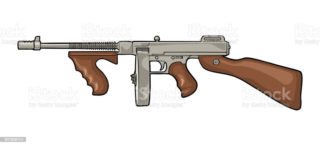Tommy Gun Gangster Drawings Royalty Free Tommy Gun...