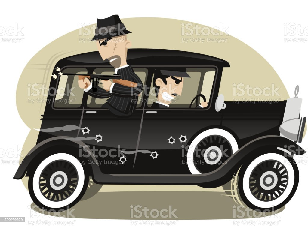 Gangsters Mob Gunman vector art illustration