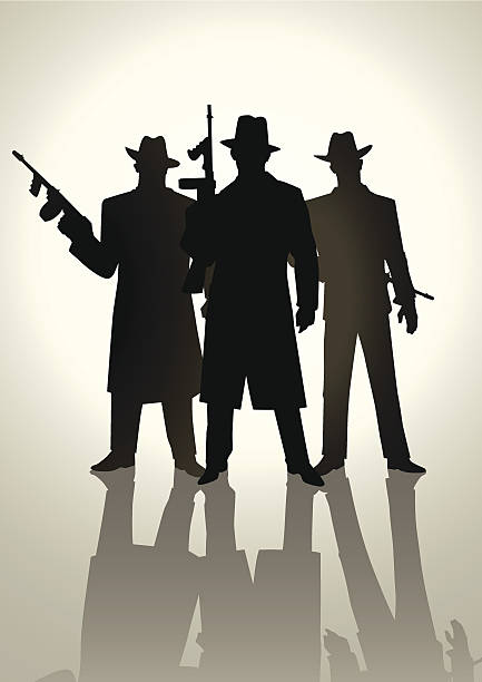 Gangsters Silhouette illustration of gangsters  gangster stock illustrations
