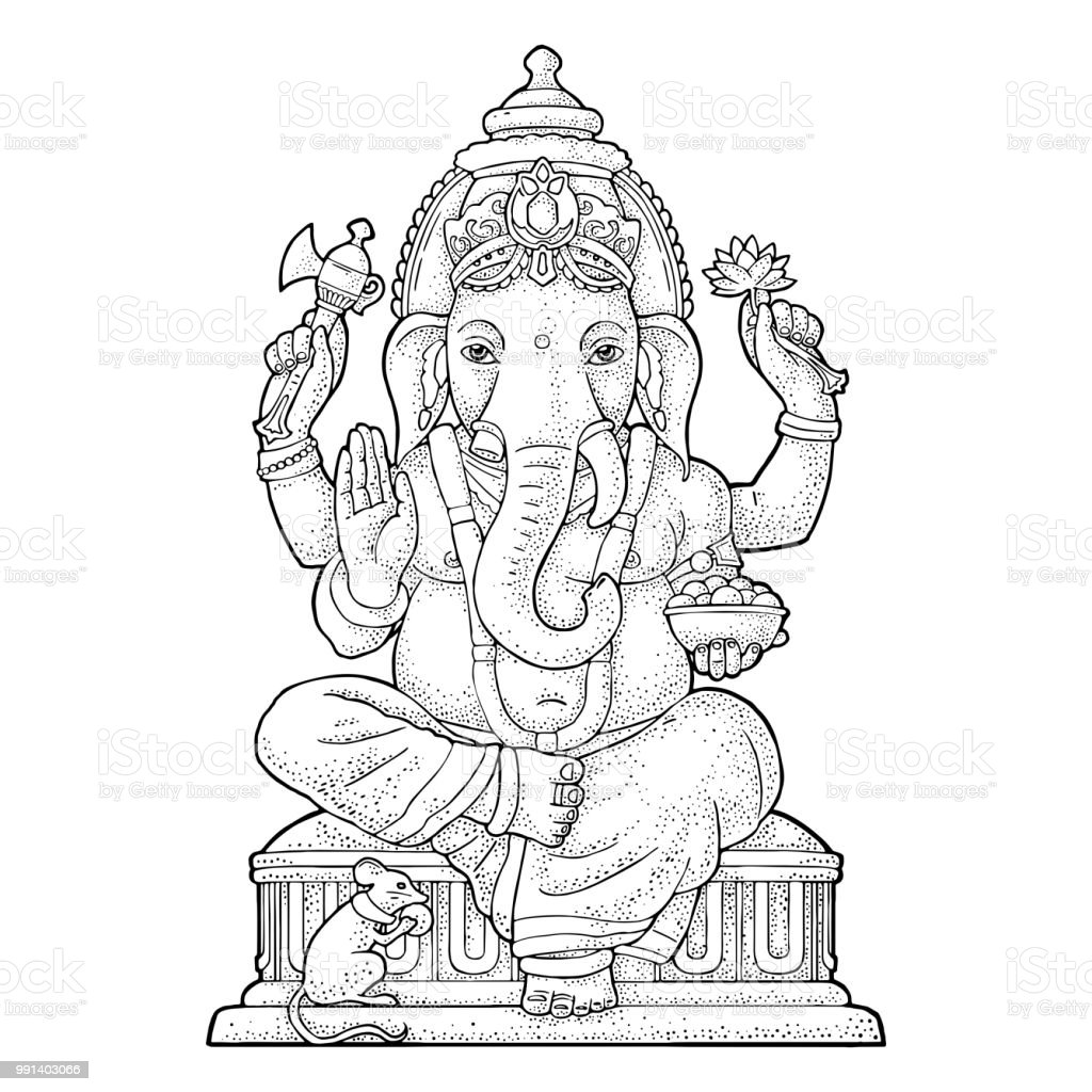 Ganpati With Mouse For Poster Ganesh Chaturthi Engraving Vintage