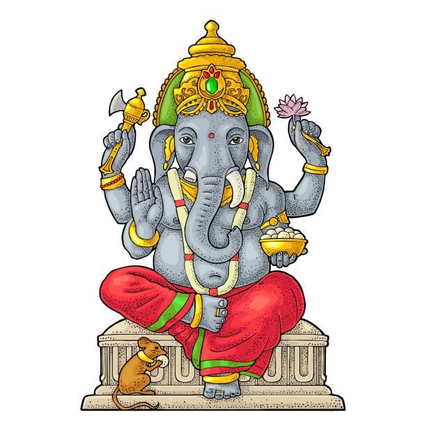 ganpati mit maus für poster ganesh chaturthi. gravur vintage vektor - ganesh stock-grafiken, -clipart, -cartoons und -symbole